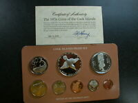 COOK ISLANDS 1976 8 COIN PROOF SET WITH SILVER & COA