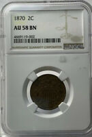 1870 TWO CENT PIECE NGC AU-58 BN