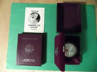 1993 AMERICAN SILVER EAGLE PROOF DOLLAR  WITH BOX AND COA