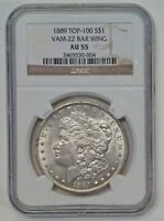 1889 MORGAN DOLLAR NGC AU55  VAM 22 BAR WING