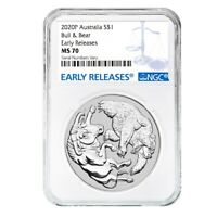 SALE PRICE   2020 1 OZ SILVER AUSTRALIAN BULL AND BEAR COIN PERTH NGC MS 70 ER