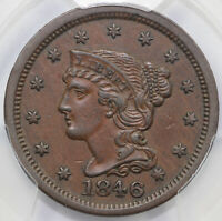 1846 1C SMALL DATE BRAIDED HAIR LARGE CENT PCGS AU 50