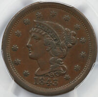 1843 1C MATURE HEAD LARGE LETTERS BRAIDED HAIR LARGE CENT PCGS EXTRA FINE  40