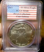 2003 AMERICAN SILVER EAGLE 1OZ PCGS MINT STATE 68 COLLECTORS CLUB EDITION