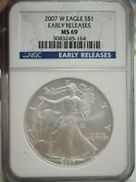 MINT STATE 69 2007-W AMERICAN SILVER EAGLE - EARLY RELEASES - GRADED NGC  5164