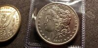 1889 S MORGAN DOLLAR AU/UNC BREAST FEATHERS BEAD RIM CLEAN CHEEK