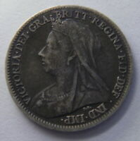 SIX  6  PENCE 1900 SILVER ENGLISH GREAT BRITAIN COIN FEATURI