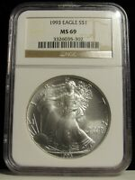 1993 US AMERICAN SILVER EAGLE DOLLAR $1.00 NGC MINT STATE 69