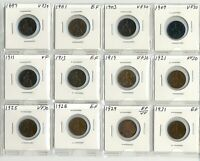 COINS. BRITAIN. FARTHINGS. LOT OF  12  1897 1931 VERY FINE A