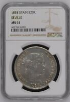 1858 SPAIN SEVILLE 20 REALES LARGE SILVER CROWN NGC MS 61 UNCIRCULATED  GEM