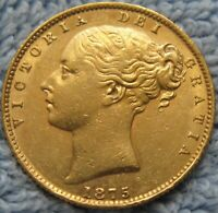 1875 S AUSTRALIA SOVEREIGN   SYDNEY GOLD   CROWNED SHIELD REVERSE