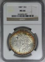 1887-P NGC SILVER MORGAN DOLLAR MINT STATE 66 LUSTER  DOUBLE SIDED TONED BLUE/ORANGE