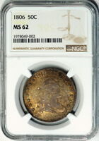 1806 NGC MINT STATE 62 BUST HALF IT IS  TO FIND A DRAPED BUST SPECIMEN IN MINT STATE