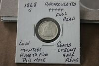 1868 S   FULL HEAD  LOW MINTAGE  UNC     SEATED LIBERTY HALF