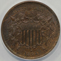 1864 2C LARGE MOTTO REPUNCHED DATE TWO CENT PIECE ANACS AU 58