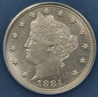1884 5C LIBERTY NICKEL ANACS MINT STATE 64