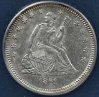 1861 25C SEATED LIBERTY QUARTER ANACS AU 55 DETAILS CLEANED