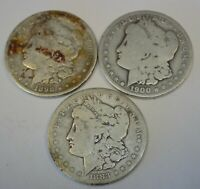 LOT OF 3 MORGAN SILVER DOLLARS 90 BULLION 1883S 1898S 1900O  SHIPS FREE D13