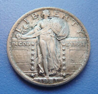 KEY DATE 1921 U.S. STANDING LIBERTY QUARTER  EXTRA FINE CONDITION