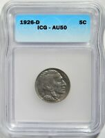 1926-D BUFFALO NICKEL ICG AU-50