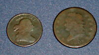 TWO 1808 BUST HALF CENT 1/2C AND CLASSIC HEAD LARGE CENT 1C U.S. COPPER COINS