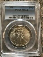 1936 WALKING LIBERTY 90 SILVER, PCGS MINT STATE 64