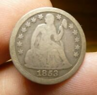 1853 NO ARROWS SEATED LIBERTY DIME