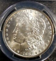 1887-P MORGAN SILVER DOLLAR PCGS MINT STATE 63 UNDESIGNATED VAM 12 ALLIGATOR EYE TOP 100