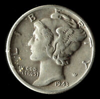 1943-P MERCURY 90 SILVER DIME SHIPS FREE. BUY 5 FOR $2 OFF