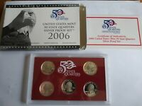 2006 S STATE QUARTER SILVER PROOF SET WITH BOX AND COA