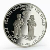 JORDAN 5 DINARS UNICEF: FOR THE CHILDREN OF THE WORLD PROOF SILVER COIN 1999