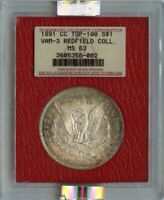 1891-CC MORGAN DOLLAR S$1 NGC MINT STATE 63 VAM 3 REDFIELD COLLECTION