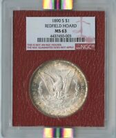 1890-S $1 MORGAN SILVER DOLLAR REDFIELD HOARD NGC MINT STATE 63