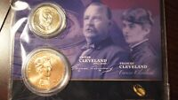 PRESIDENTIAL $1 COIN AND FIRST SPOUSE MEDAL SET. GROVER AND FRANCIS CLEVELAND.