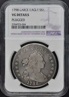 1798 LARGE EAGLE DRAPED BUST, LG EAGLE S$1 NGC VG DETAILS