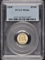 1858 H10C LIBERTY SEATED HALF DIME PCGS MINT STATE 66