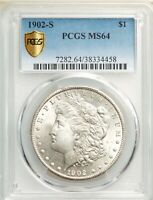 1902-S PCGS SECURE MINT STATE 64 MORGAN SILVER DOLLAR TOUGH BETTER DATE UNCIRCULATED BU