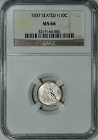 1837 NO STARS NGC MINT STATE 66 SEATED HALF DIME, THEY DON'T GET MUCH BETTER THAN THIS
