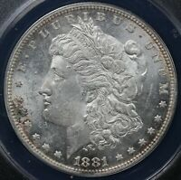 1881 $1 MORGAN DOLLAR ANACS MINT STATE 61