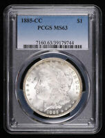 1885-CC $1 MORGAN SILVER DOLLAR COIN PCGS MINT STATE 63, 79744FKJ