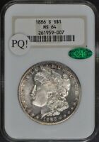 1886-S MORGAN DOLLAR S$1 NGC MINT STATE 64 CAC BRICK