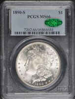 1890-S $1 MORGAN DOLLAR PCGS MINT STATE 66 CAC