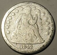 1842 SEATED LIBERTY DIME-GOOD, DETAILS FREE US SHIPPING-G