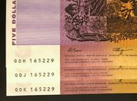 3 X MATCHING $5 NOTES 1990   SAME SERIAL NUMBER   CONSEC PRE