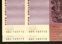 TWIN PAIRS OF $5 NOTES    SAME SERIAL NUMBERS    CONSEC PREF