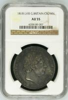 1818 LVIII GREAT BRITAIN CROWN NGC AU55 ALMOST UNCIRCULATED SILVER