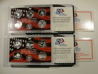 2004 & 2005 US PROOF SILVER STATEHOOD QUARTER SETS 90  $2.50