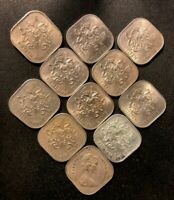 OLD BAHAMAS COIN LOT    15 CENTS   UNCOMMON TYPE   11 COINS