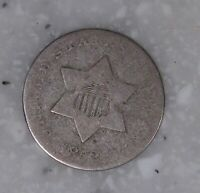1852 THREE CENT SILVER COIN   ODD TYPE COIN FISH SCALES  LOW