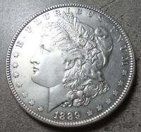 1889-P PHILLY MORGAN SILVER DOLLAR, BRILLIANT UNCIRCULATED, SHARP, LY TONED